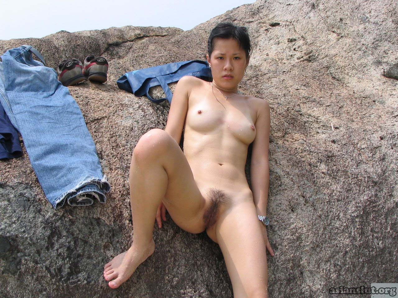 slutty asian lady expose her breast and hairy pussy outdoor slutty hairy pussy breast asian lady