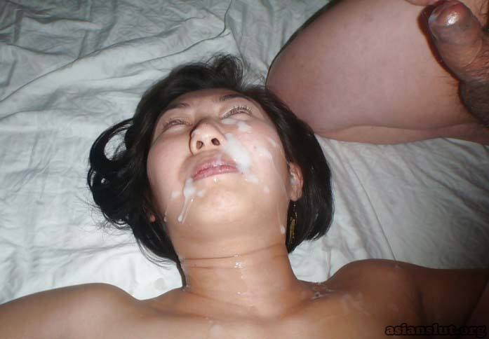 Hot asian whore gets fucked in every holes by three guys