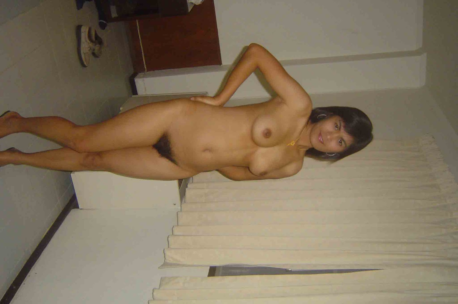 Horny  Indian girl her shaved pussy filled 024